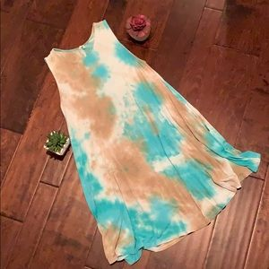 Fringe Tie Dye A-Line dress, Small. With Pockets!!